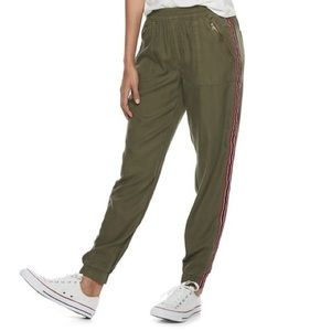 NEW olive track striped zip pocket joggers size M